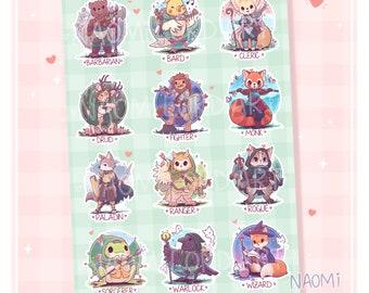 "Cute RPG Classes as Animals, Vinyl Sticker Sheet (A5 / 6x8"") Rogue, Wizard, Cleric, Warlock, Druid, Barbarian, Sorcerer"