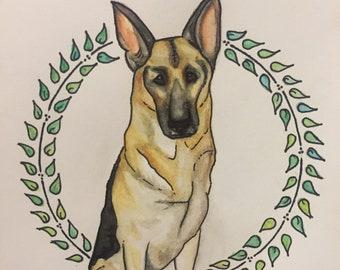 Custom Pet Watercolor 5.5 X 8.5 Custom Made to Order Gift