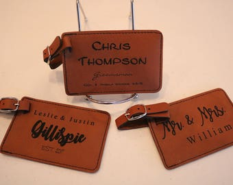 Personalized Leather Luggage tag- Custom Groomsmen gifts-