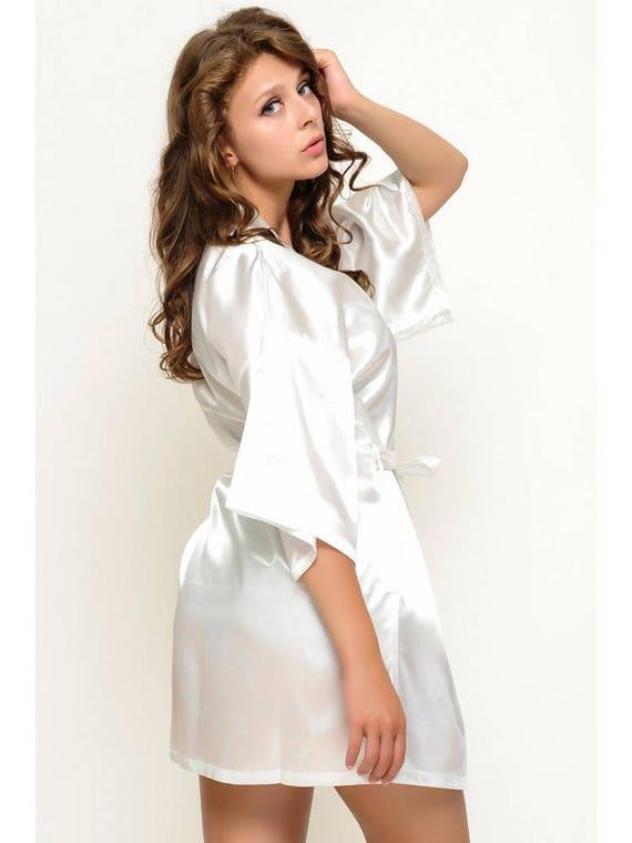 satin bride 39 s robe free initial monogram bride 39 s etsy. Black Bedroom Furniture Sets. Home Design Ideas