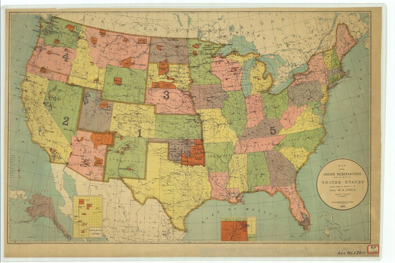 Historical Map Showing Indian Reservations Within The Us 1902 Etsy - Map-of-reservations-in-us