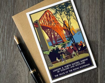 England travel birthday cards, Scotland vacation post cards, London retirement cards, Railway posters, vintage travel poster art cards