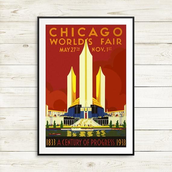 "Vintage Travel Poster *FRAMED* CANVAS ART 18x12/"" Chicago World fair USA 1934"