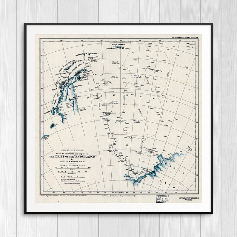 Drift of the Endurance vintage nautical maps Endurance ship image 0