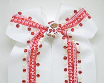 Teddy Bear Christmas - Hair Clip Bow