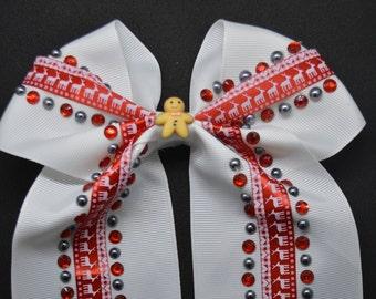 Anne's Christmas Gingerbread Men - Hair Bow Clip