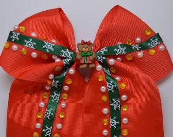 Teddy Bear At Christmas - Large Hair Bow