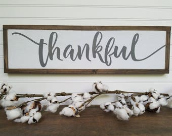 Thankful Wood Sign - Thankful Wooden Sign - Thankful Sign - Farmhouse Sign - Rustic Signs - Wood Signs - Wooden Signs