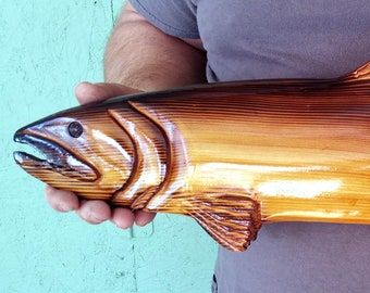 Rainbow Trout Wood Carving Wall Art Rustic Cabin Decor
