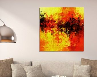 Giclee Canvas Print of Original Abstract Oil Painting, Minimalist Abstract Painting, Abstract Wall Art, Yellow Art Print for Wall Decor