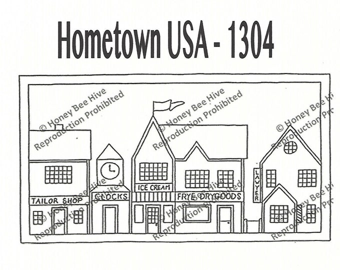 Hometown USA, Rug Hooking Pattern on Linen