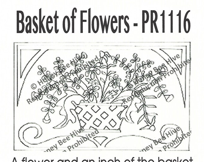 Baskets of Flowers, Rug Hooking Pattern on Linen