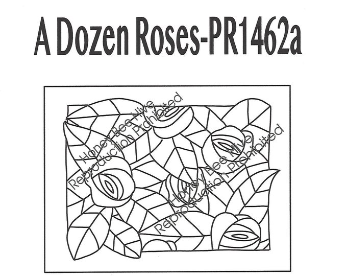A Dozen Roses, Rug Hooking Pattern on Linen