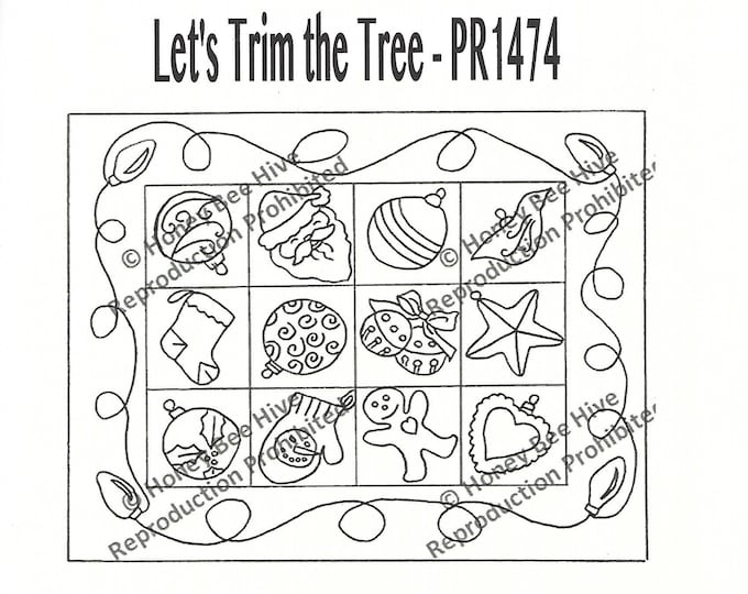 Let's Trim the Tree, Rug Hooking Pattern on Linen