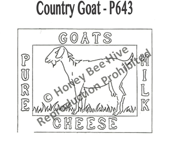 Country Goat, Rug Hooking Pattern on Linen