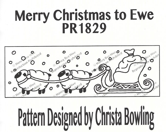 Merry Christmas to Ewe, Rug Hooking Pattern on Linen