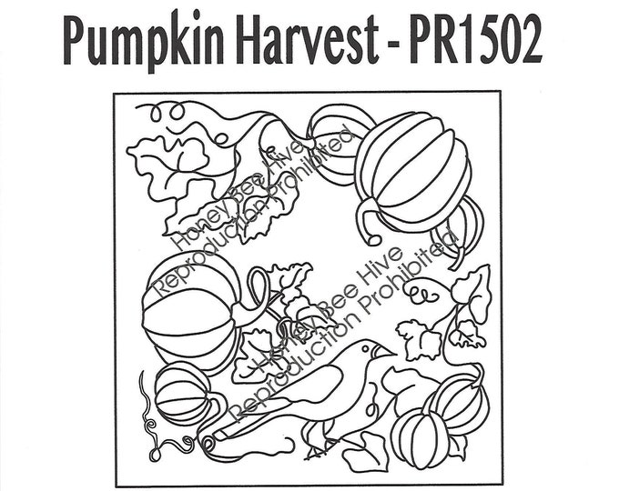 Pumpkin Harvest, Rug Hooking Pattern on Linen