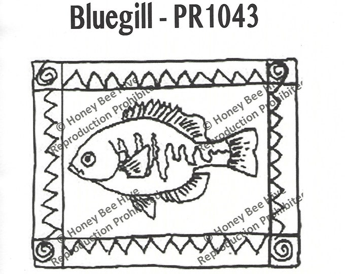Bluegill, Rug Hooking Pattern on Linen