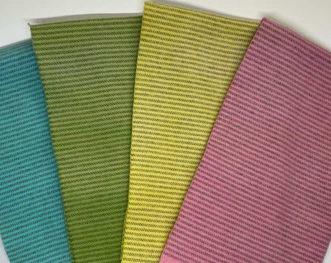 Spring Stripes, Hand Dyed Fat Quarters for Rug Hooking, Wool Applique and Crafts