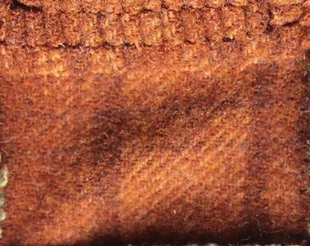Spiced Orange Plaid, Felted Wool Fabric for Rug Hooking, Wool Applique and Crafts