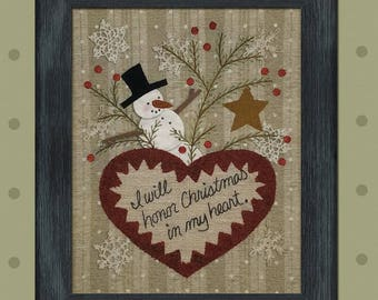 Christmas Heart Kit, Wool Appliqué and Embroidery