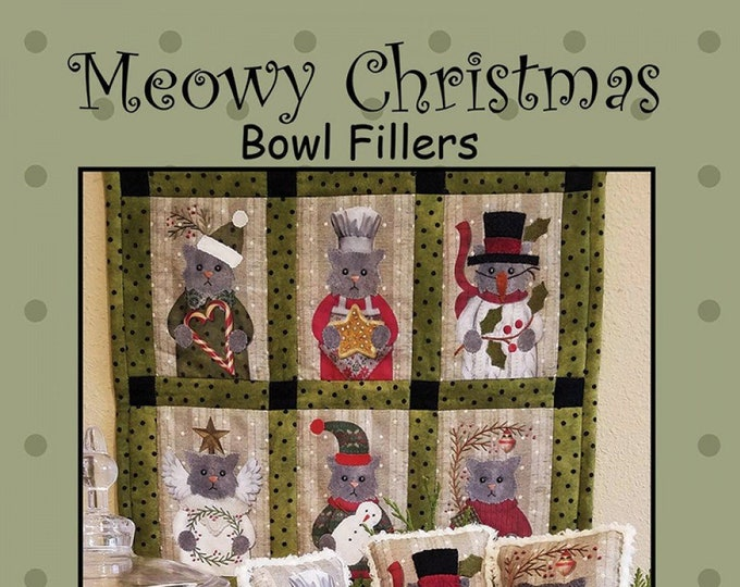 Meowy Christmas Bowl Fillers Kit, Wool Appliqué and Embroidery