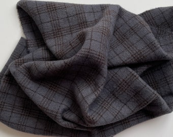Charcoal Gray Plaid Value #7, Hand Dyed, Felted Wool Fabric for Rug Hooking, Wool Applique and Crafts