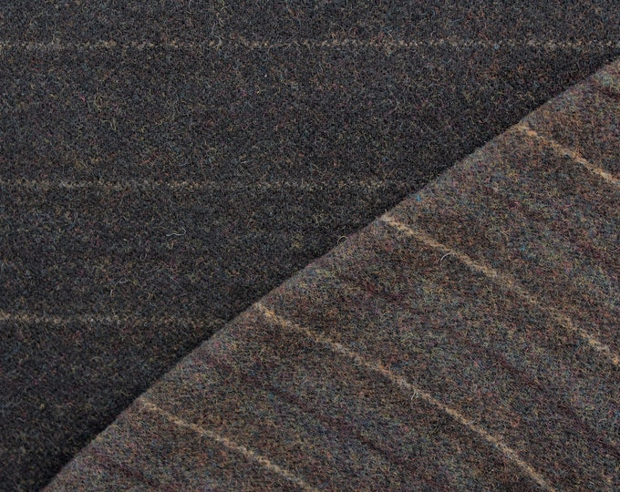 Reversible Black Stripe, Felted Wool Fabric for Rug Hooking, Wool Applique and Crafts