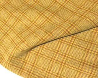 Butterscotch Plaid, Felted Wool for Rug Hooking, Wool Applique and Crafts