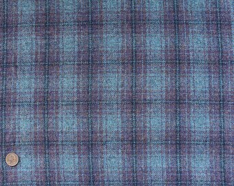 Larkspur Plaid, Felted Wool Fabric for Rug Hooking, Wool Applique and Crafts