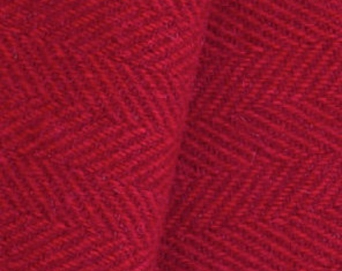 Red and Deep Red Herringbone, Fetled Wool Fabric for Rug Hooking, Wool Applique and Crafts