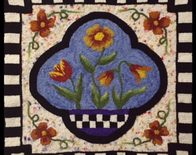 Floral Window, Rug Hooking Pattern on Linen