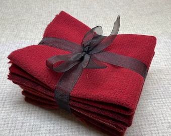 Red Ribbon Bundle, Felted Wool Fabric for Rug Hooking, Wool Applique and Crafts