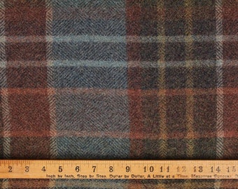 New England Plaid, Felted Wool Fabric for Rug Hooking, Wool Applique and Crafts