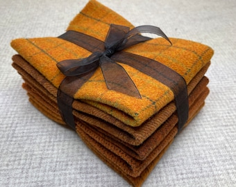 Pumpkin Ribbon Bundle, Felted Wool Fabric for Rug Hooking, Wool Applique and Crafts