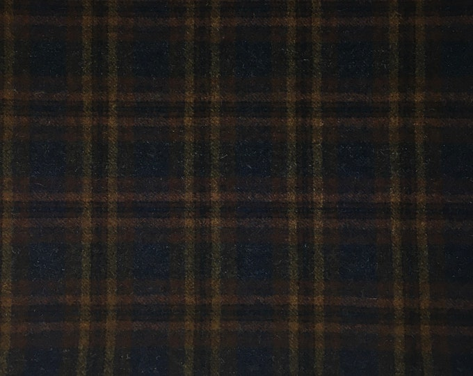 Paul Bunyan Navy Plaid, 1/2 Yard Felted Wool Fabric for Rug Hooking, Wool Applique and Crafts