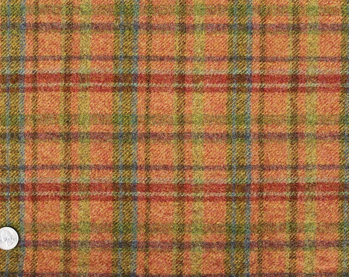 Spring Mix Plaid, 100% Felted Wool Fabric for Rug Hooking, Wool Applique and Crafts