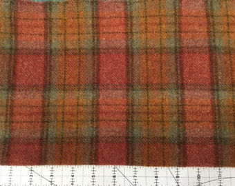 Jolly Rancher Plaid, Felted Wool Fabric for Rug Hooking, Wool Applique and Crafts