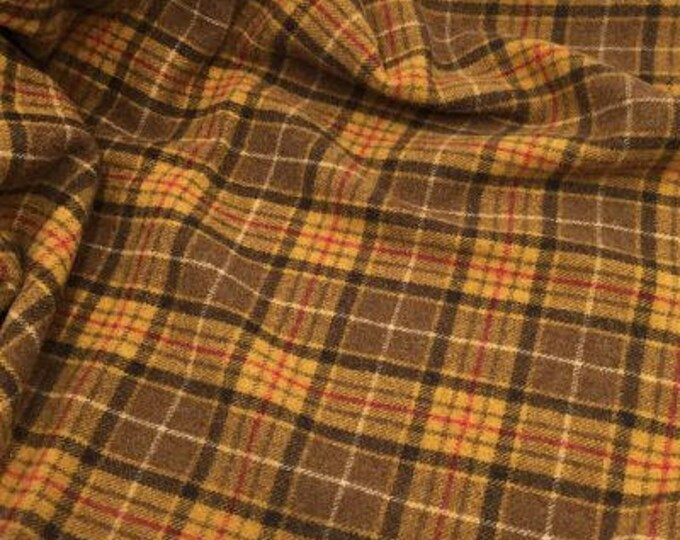 Ranger Plaid, Felted Wool Fabric for Rug Hooking, Wool Applique and Crafts