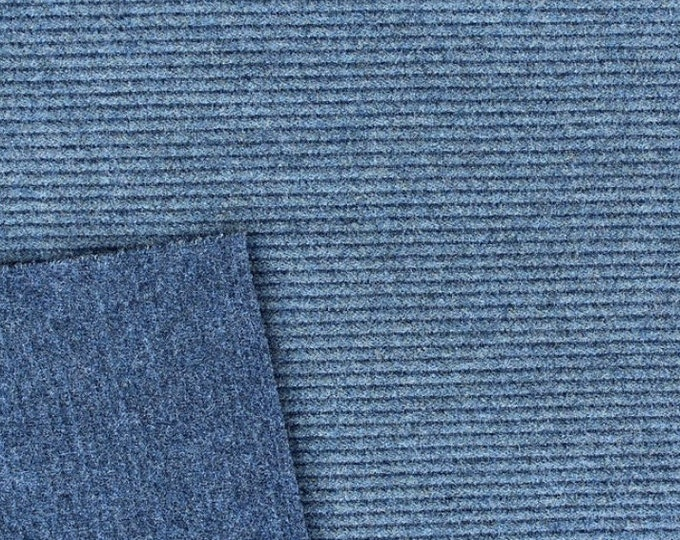 Corduroy Blues, Reversible, Felted Wool Fabric for Rug Hooking, Wool Applique and Crafts
