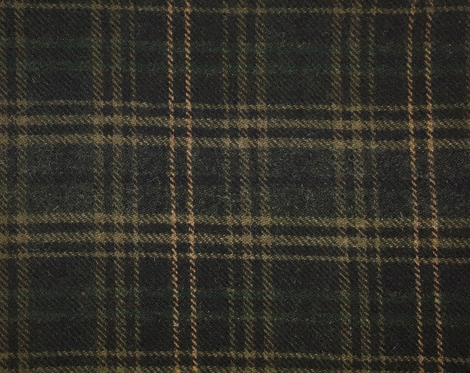 Hunter Plaid, Felted Wool Fabric for Rug Hooking, Wool Applique and Crafts