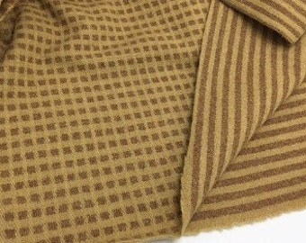 Squares & Stripes, Reversible, Felted Wool Fabric for Rug Hooking, Wool Appliqué and Crafts