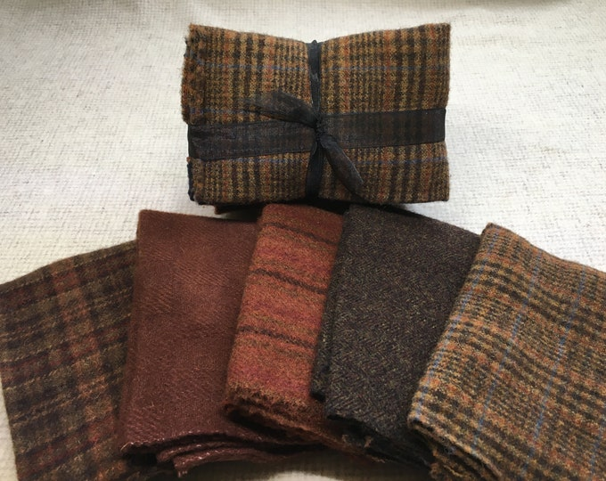 Brown Ribbon Bundle, Felted Wool Fabric for Rug Hooking, Wool Applique and Crafts
