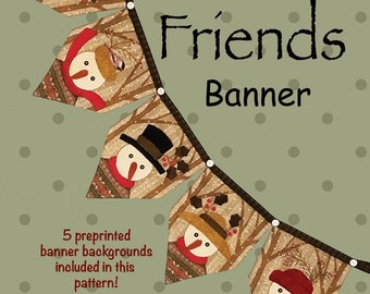 Winter Friends Banner Kit, Wool Appliqué