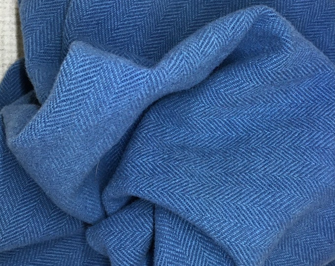 Blue and Light Teal Herringbone, Felted Wool Fabric for Rug Hooking, Wool Applique and Crafts
