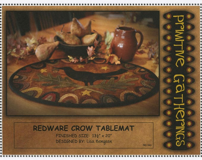 Redware Crow Tablemat, Wool Appliqué Pattern or Kit