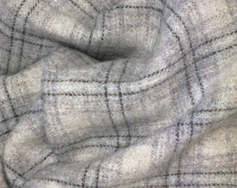Rolling Stone Plaid, Felted Wool Fabric for Rug Hooking, Wool Applique and Crafts