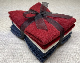 Patriotic Ribbon Bundle, Felted Wool for Rug Hooking, Wool Applique and Crafts