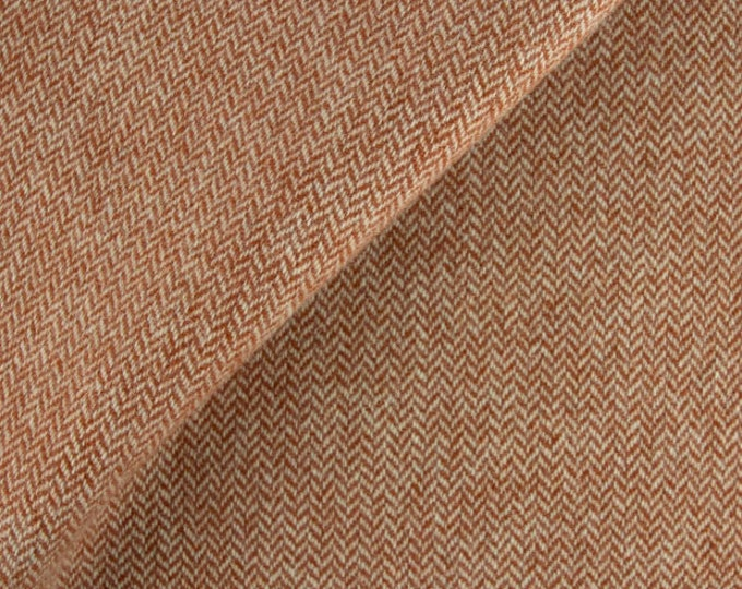 Terra Cotta Herringbone, Felted Wool Fabric for Rug Hooking, Wool Applique and Crafts