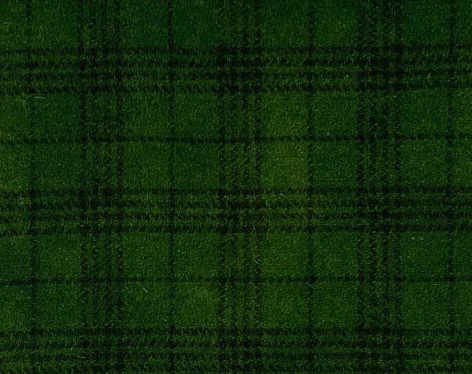 Christmas Green Plaid, Hand Dyed, Felted Wool Fabric for Rug Hooking, Wool Applique and Crafts